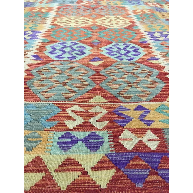 """2020s Hand Knotted Traditional Design Uzbek Wool Kilim. 4'11"""" X 6'5"""" For Sale - Image 5 of 7"""