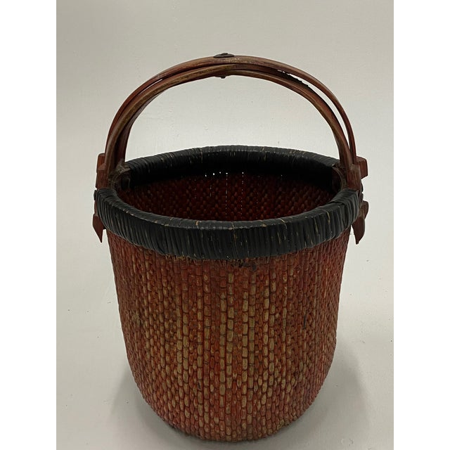Chinese Woven Rattan Market Basket For Sale - Image 11 of 13