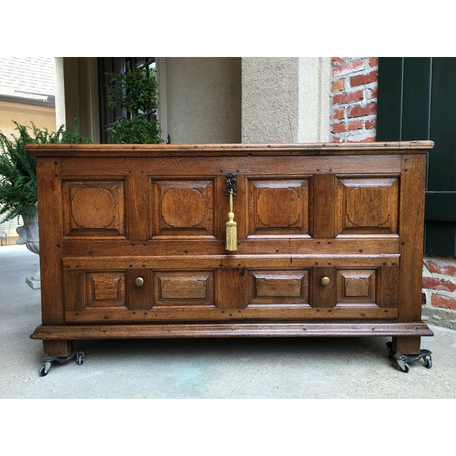 French 1900s Antique French Country Carved Oak Mule Chest Bench Coffer Trunk For Sale - Image 3 of 13