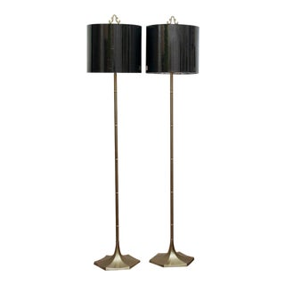Brass Faux Bamboo Floor Lamps by Laurel, a Pair For Sale