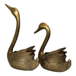 Mid Century Brass Swan Figural Planters - a Pair For Sale