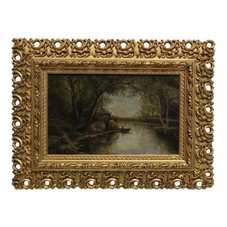 1930s Riverscape Oil on Canvas Painting, Framed For Sale