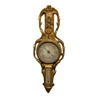 19th Century French Gilt Carved Barometer For Sale