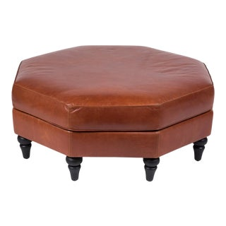 Custom Edelman Leather Hexagonal Ottoman For Sale