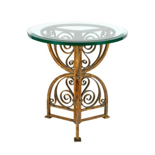 Modern Designer Glass Top End Table by Charles Pollock For Sale