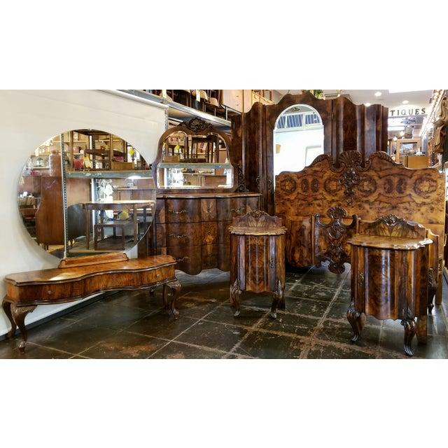 Antique Italian Olive Wood Neo-Rococo Venetian Baroque Six Piece Bedroom Suite For Sale - Image 13 of 13
