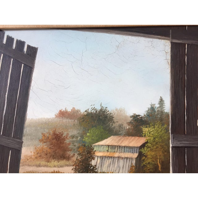 Vintage Barn Landscape Painting Signed by Drago - Image 6 of 9