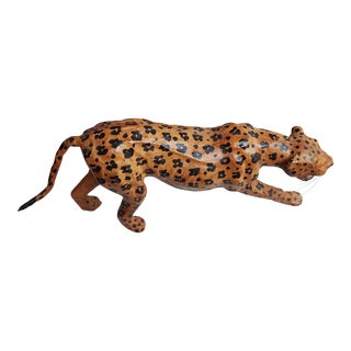 Mid-Century Hand Painted Leather Leopard Figurine