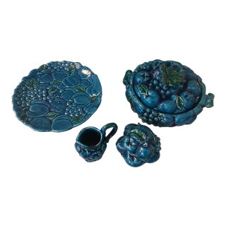 Vintage Agua Blue & Teal Glass Grape Serving Dishes - Set of 5