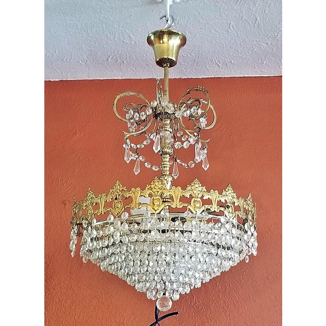 Gold 19c French Crystal Ormolu Chandelier For Sale - Image 8 of 8