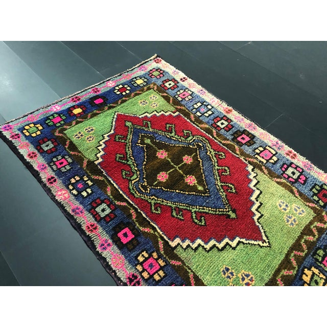 Textile Traditional Anatolian Aztec Antique Blue Green Pink and Red Turkish Oushak Rug For Sale - Image 7 of 12