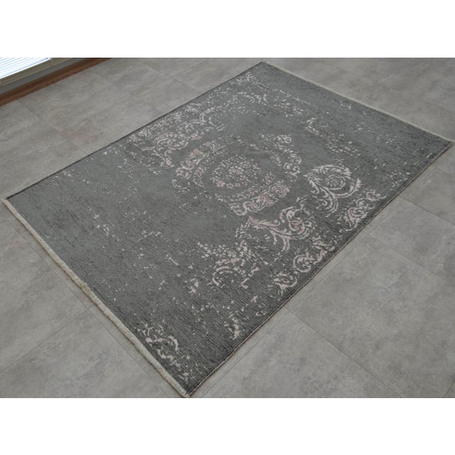 Gray Overdyed Turkish Rug - 3′11″ X 5′11″ - Image 4 of 9