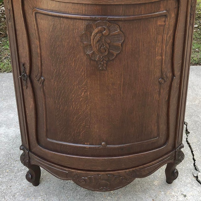 Early 20th Century Antique French Louis XV Marble Top Corner Cabinet ~ Confiturier For Sale - Image 5 of 11