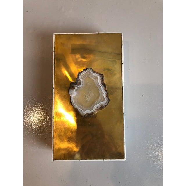 Contemporary Tozai Home Genuine Agate Bone & Brass Covered Box For Sale - Image 3 of 6