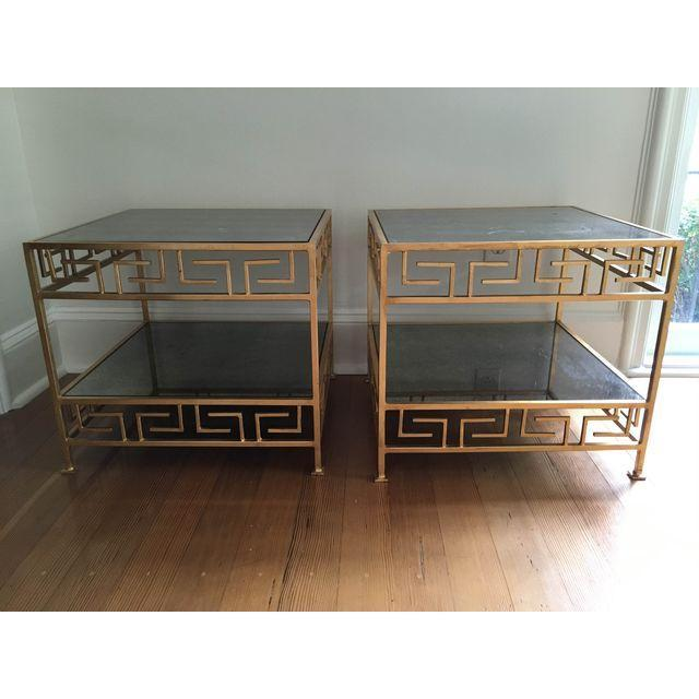 Worlds Away Greek Key Side Tables - A Pair - Image 3 of 3