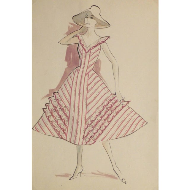 Hendlin Vintage Fashion Sketch Pink Summer Dress Chairish