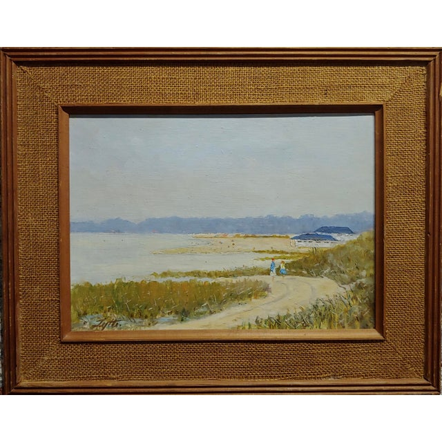 Ralph Arthur Lyle -Walking Trail on a California Beach landscape -Oil painting oil painting on canvas panel-Signed circa...
