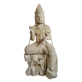 Vintage Sun Bleached Quan Yin Statue For Sale