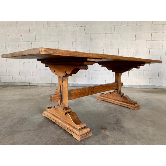 Antique French Farmhouse Solid Oak Wood Trestle Dining Table 19th C. For Sale - Image 11 of 13
