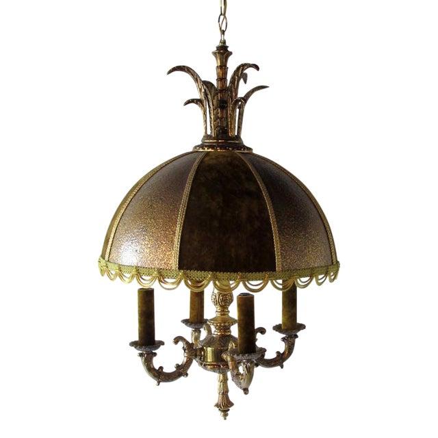 French Brass & Velvet Pendant Light For Sale