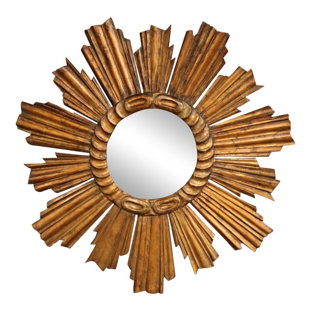 Early 20th Century French Carved Giltwood Sunburst Mirror For Sale