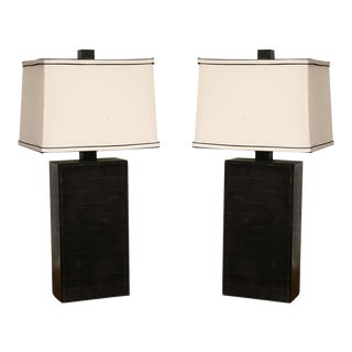 Pair of Black Leather Table Lamps in the Style of Adnet For Sale