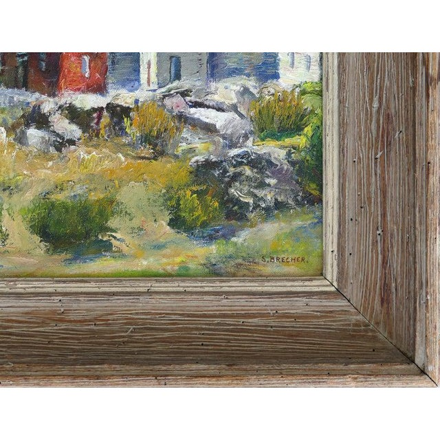 Contemporary Contemporary Samuel Brecher Oil Painting of Pemaquid Lighthouse E Boothbay, Me For Sale - Image 3 of 10