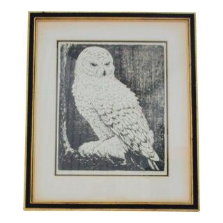 1970s Mid Century Modern Owl Woodcut Print by Martha Cawley