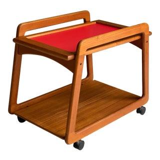 1970s Mid-Century Teak Danish Reversible Top Rolling Bar Cart For Sale