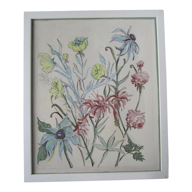 Vintage Acrylic Flower Painting For Sale