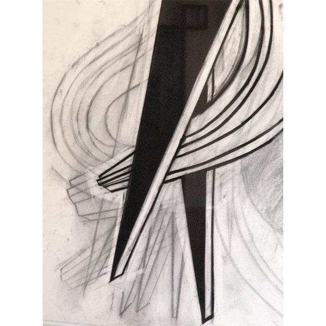 1980s Large Charcoal and Vermilion Pastel Drawing by John Monti For Sale - Image 5 of 9