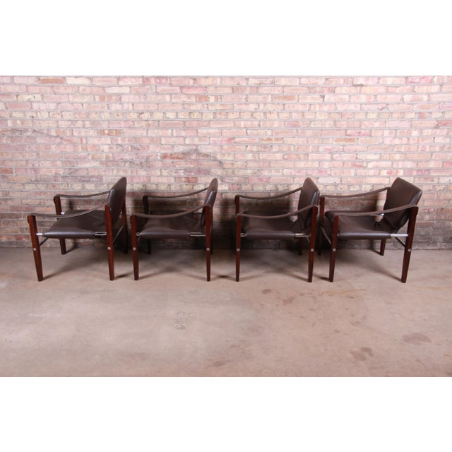 Brown Maurice Burke for Pozza Mahogany and Leather Safari Chairs, Set of Four For Sale - Image 8 of 13