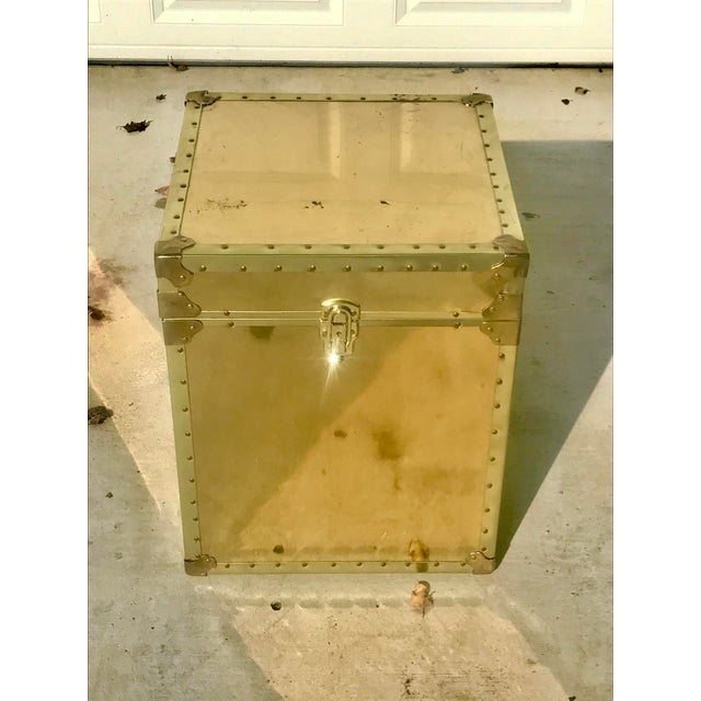 1960s Hollywood Regency Small Gold Metal Trunk For Sale - Image 13 of 13