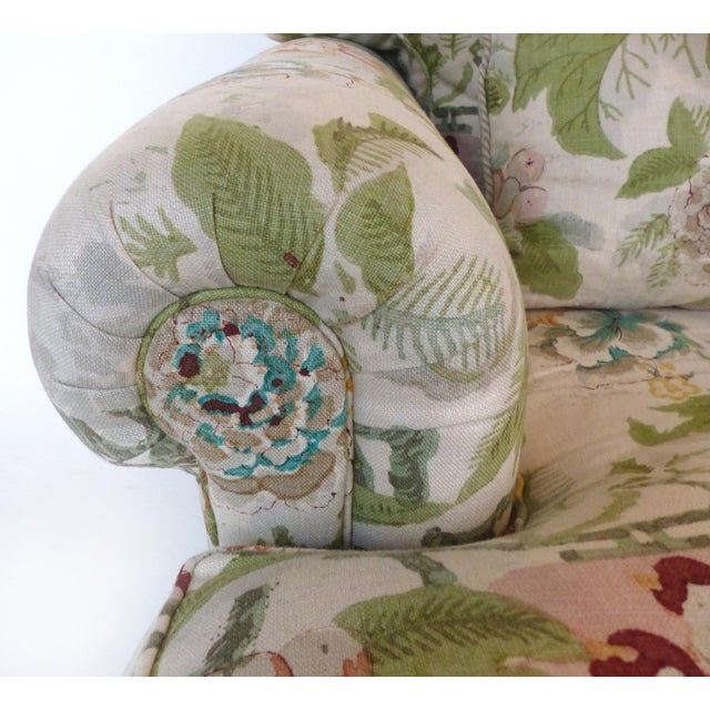 Overscale Pair of Chinoiserie Upholstered Club Chairs With Down Cushions For Sale In Miami - Image 6 of 12