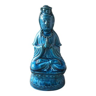 Antique Chinese Peacock Blue Quanyin - Qing Dynasty For Sale