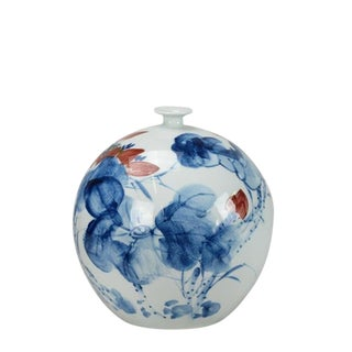Chinoiserie Blue and White Porcelain Round Vase