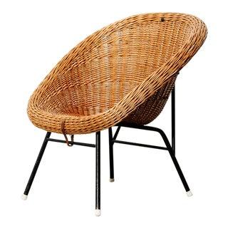 Wicker Lounge Chair Attributed to Dirk Van Sliedregt For Sale