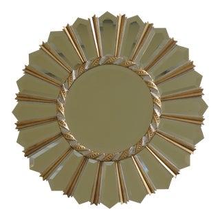 Friedman Brothers Round Modern Sunburst Gold & Silver Mirror For Sale