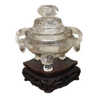 Early 20th Century Chinese Carved Rock Crystal Incense Burner For Sale