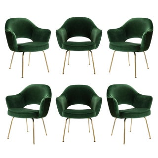 Original Vintage Saarinen Executive Arm Chairs Restored in Emerald Velvet, Custom 24k Gold Edition - Set of 6 For Sale