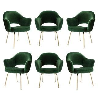 Original Vintage Saarinen Executive Arm Chairs Restored in Emerald Velvet, Custom 24k Gold Edition - Set of 6 For Sale