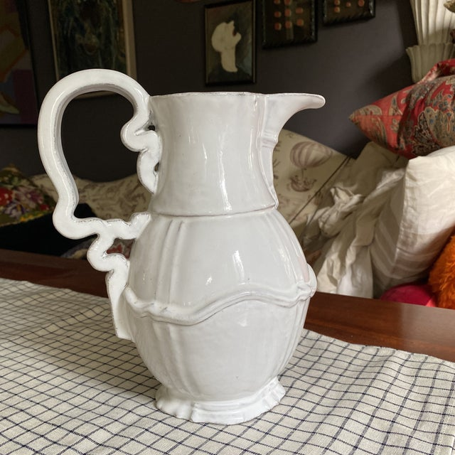 Ceramic French Astierre De Villatte White Pitcher For Sale - Image 7 of 9