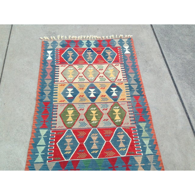 "Turkish Handwoven Wool Kilim Rug - 4'2"" X 5'11"" For Sale - Image 9 of 10"
