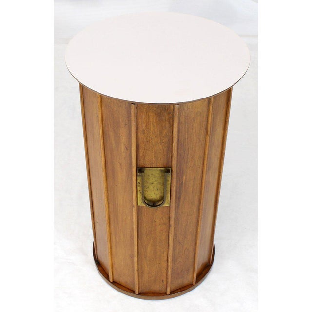 Round Cylinder Shape Pedestal Bar Cabinet Storage Cabinet With Brass Hardware For Sale In New York - Image 6 of 12
