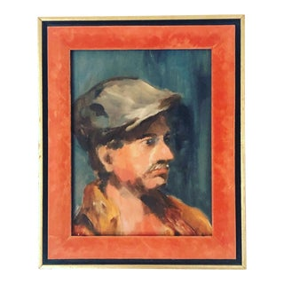 Expressionist Portrait Painting of a Man in Gild Wood and Orange Velvet Frame For Sale