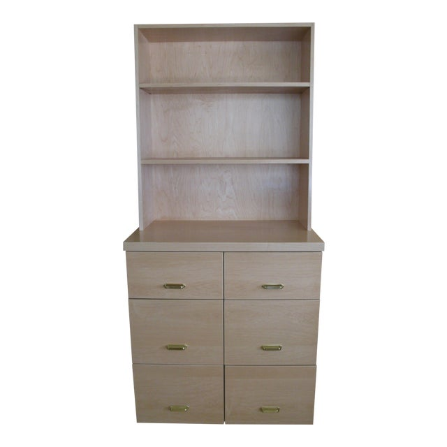 Maple Cabinet & Hutch - Image 1 of 8