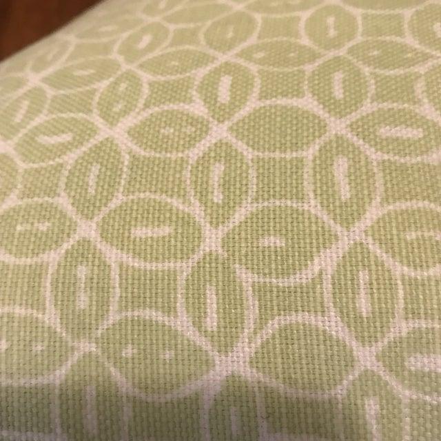 Textile Quadrille Melong Celadon Linen Pillows - A Pair For Sale - Image 7 of 8