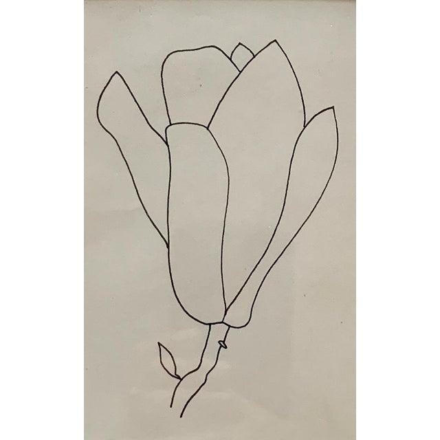 Illustration Original Floral Pen Drawing in Vintage Frame For Sale - Image 3 of 4