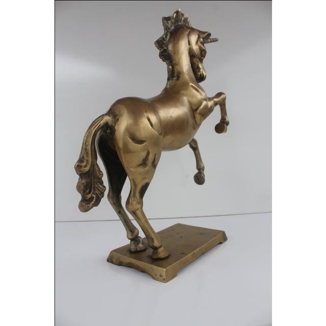 1970s Regency Solid Brass Unicorn Sculpture For Sale - Image 4 of 8