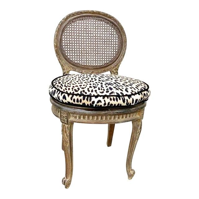 Antique French Caned Child's Vanity Chair For Sale